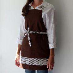 Woman's Brown Apron with Sister Parish Fabric Detailing by LilaKids, $60.00