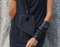 """VENTA colección 2016 negro cuerda cuero extravagante """"Forma"""" collar de accesorio AAKASHA A16475 de verano"""