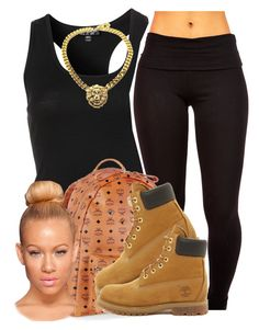 """School be like .."" by trillest-queen ❤ liked on Polyvore featuring Topshop, MCM and Timberland"