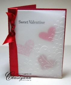"""This was CASEd from Gretchen B., a Stampin' Up! Demonstrator from Illinois. Stamp Sets: I {Heart} Hearts; Card Stock: Pretty in Pink, Real Red, Regal Rose, Whisper White, Vellum Ink Pretty in Pink, Real Red, Regal Rose, Basic Black, 5/8"""" red satin ribbon"""