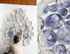 Hand-painted Ceramic Plate Installations by Molly Hatch  http://www.thisiscolossal.com/2015/02/hand-painted-ceramic-plate-installations-by-molly-hatch/