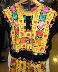 """Beautiful Mexican Textiles, Besides Weavings for Walls the Clothing is also Hand Woven;  this Over Blouse is of the Style """"Frida Kahlo"""" Favored. - to see more visit www.mainlymexican... #Mexico #Mexican #textile #embroidery #woven"""
