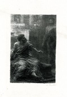 Apparition d'Hector (1888), lithograph by Henri Fantin-Latour (1836-1904) [published in Hector Berlioz: sa vie et ses œuvres, facing page 274], from Act 2, Scene 1, of Les Troyens (1858), by Hector Berlioz (1803-1869).