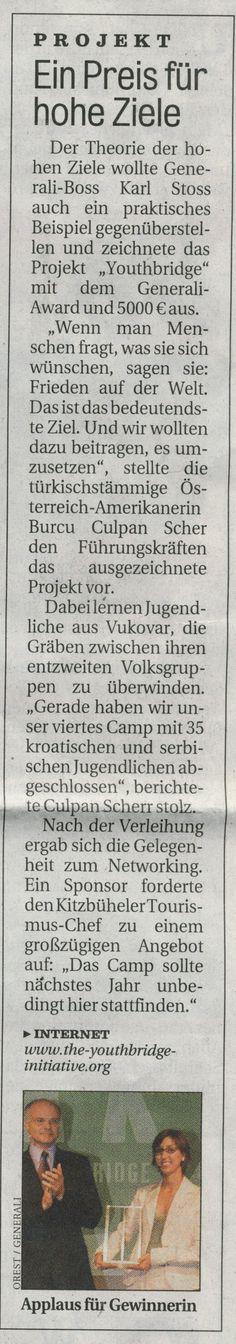 Generali Award for The Youthbridge Initiative, newspaper article