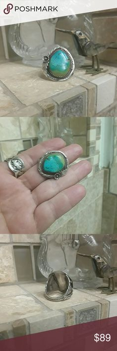 Vintage Sterling & Turquoise Ring I believe that this is Navajo although it is not signed only stamped Sterling.  Beautiful unusual Turquoise stone. I would keep this but it's just too big for me & I have plenty others that need to be sized!!! Native American Jewelry Rings
