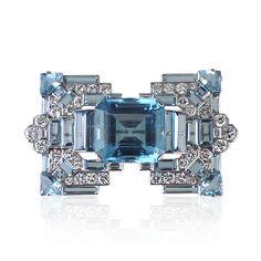 Art Deco Aquamarine & Diamond Brooch Cartier