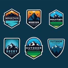 Set Of Logo, Badges, Banners, Emblem For Mountain on Behance Graphic Design Posters, Graphic Design Typography, Logo Design Inspiration, Typography Inspiration, Berg Logos, Bc Logo, Goat Logo, Outdoor Logos, Mountain Logos
