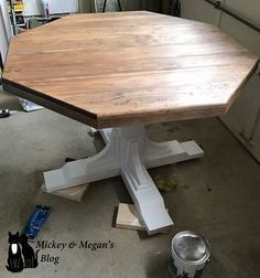 Square x base pedestal dining table free plans at ana for Octagon coffee table plans