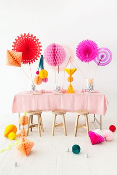 This DIY honeycomb centerpiece is perfect for the party next month.