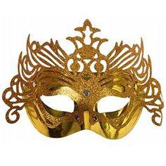 9579c6e1cc3f7 Máscara Oro decorada Purpurina Una máscara con la que serás la reine de tu  baile .