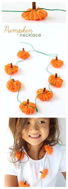 Easy Yarn Pumpkin Necklace Craft + Garland Idea, Easy Fall Kids Craft Idea, perfect for toddlers - Raising Whasians