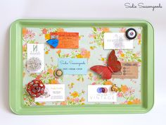 Don't toss or donate your old cookie sheet- give it a thrifty DIY makeover and repurpose it into a magnetic memo board with this tutorial.
