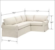 PB Basic Slipcovered 3 Piece Sectional. Small Sectional CouchPottery ...