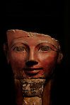 Hatshepsut, Egypt, Egyptian Museum, Cairo, Osiris statue face of Hatshepsut, statue, New Kingdom, 18th dynasty, painted limestone, colossal, false beard, red crown