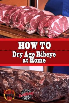 If you've had aged steak, you know it is more tender and flavorful than what you can typically buy. Here's how to dry age ribeye at home Jerky Recipes, Steak Recipes, Grilling Recipes, Cooking Recipes, Game Recipes, Cooking Gadgets, Dry Aged Ribeye, Dry Aged Steak, How To Cook Beef