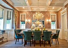 beautifully finished room. love the table, velvet chairs, chandeleier, ceiling, layout, and all the moulding - Jill Wolff Interior Design