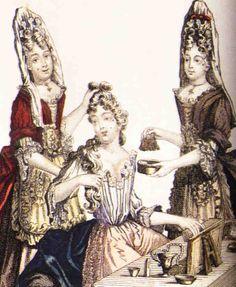 Femme à sa toilette à la fin du XVIIe s