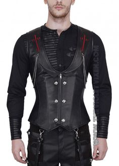 Love this goth corset, perfect for a super hot date night man! Steel boned, black leather, chains and red detail. The Violet Vixen - Blood Crossed Hunter Corset, $158.00 (http://thevioletvixen.com/clothing/mens/mens-corsets/blood-crossed-hunter-corset/)