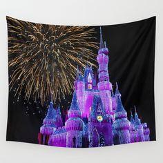 Disney Magic Kingdom Fireworks at Christmas - Cinderella Castle Wall Tapestry