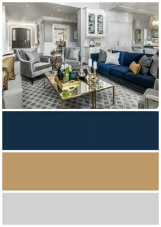 Include interest to your living room with a fresh paint color. Search our living room paint colors ideas gallery to locate living room concepts and paint colors. Blue And Gold Living Room, Blue Living Room Decor, Living Room Color Schemes, Home Living Room, Living Room Designs, Grey Living Room With Color, Room Paint Colors, Paint Colors For Living Room, Wall Design