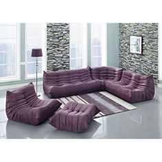 Ruffle Contemporary Sectional - Purple