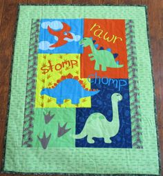 Boys Cute Dinosaur Panel 36Wx44L Baby Crib Toddler by DDSewHappy