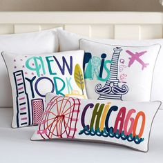 PB Teen Destination Pillow Cover, 12x24, Boston at Pottery Barn Teen -... (35 CAD) ❤ liked on Polyvore featuring home, bed & bath, bedding, multi, multi color bedding, colorful bedding, pbteen, embroidered pillowcases and multi colored bedding