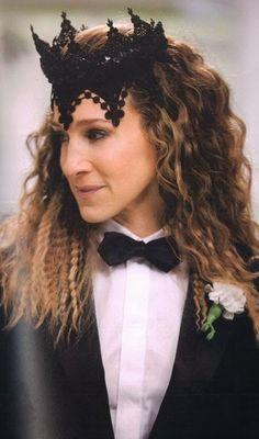 "The Carrie Bradshaw ""gay wedding black crown"" Tuxedo Wedding, Wedding Wear, Wedding Black, Wedding Dresses, Carrie Bradshaw, Lace Crowns, Flower Crowns, Newspaper Dress, Vera Wang Dress"
