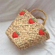 New straw bag handmade strawberry decorative summer handbag fashion Joker women's bag Fashion Handbags, Fashion Bags, Summer Handbags, Fabric Textures, Gourds, Straw Bag, Shapes, Models, Knitting
