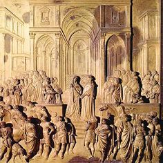 Salomón y la Reina de Saba. Ghiberti. Puertas del Paraíso.