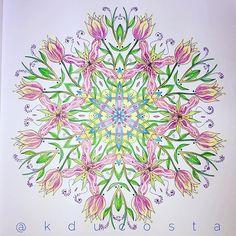 "Floral mandala from the ""Mandala Meditation Coloring Book "". #floral #floralmandala #mandala #mandalameditation #art #beautifulmandalas #becreative #adultcoloringbook #adultcoloring #colorful #coloring #coloringbook #design #drawing #doodle #flores #livrodecolorir #mindfulness #goodvibrations #yoga #zentangle #zen #inktense #inktensepencils"