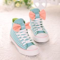 Polka Dots Print High Top Canvas Sneaker With Bowtie Detail $27.98