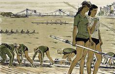 Ройтер М.Г. —Гребцы на стрелке у Крымского моста.  : 1958 г. M. Reuter - Rowers on the arrow at the Krymsky Bridge.