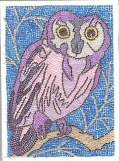 Micro Paper Mosaic Owl ACEO From Theodora By THEODORADESIGNS, $5.00