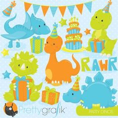 Birthday dinosaurs clipart commercial use, vector, digital - CL795