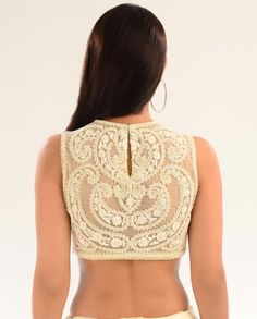 Pearl Embellished Cream Net blouse back