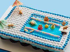 Pull-Apart Pool Cupcake Cake Recipe from Food Network Pool Cupcakes, Cupcake Cakes, Cup Cakes, Pool Cake, Ladybug Cupcakes, Kitty Cupcakes, Snowman Cupcakes, Giant Cupcakes, Themed Cupcakes