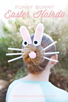 My girls and I have had a lot of fun doing silly hairdos for some of our favorite holidays! We did this Rudolph hairdo for Christmas and this Silly Spider hairdo for Halloween and we thought we'd continue the tradition with a fun hairstyle for Easter! We