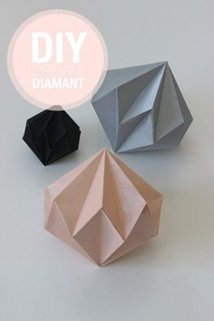 Make origami diamonds with this all-image tutorial! The diameters are - Origami - Crafts Diy Origami, Origami And Kirigami, Origami Tutorial, Oragami, Origami Instructions, Geometric Origami, Origami Ideas, Best Origami, Origami Geometric Shapes