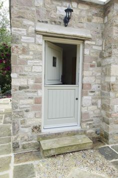 √ Best Planning Window Treatments For French Doors French Grey stable door looks fantastic with the pale stone - Door Cottage Front Doors, Cottage Door, Cottage Exterior, Dutch Door Exterior, Country Front Door, Cottage Windows, Half Doors, The Doors, Windows And Doors