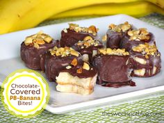 Chocolate-Covered PB Banana Bites 2 large bananas Natural, creamy peanut butter Hershey's Magic Shell Chocolate 1/4 cup chopped peanuts, roasted and lightly salted  Slice bananas into 1/4″ slices and lay in a single layer on a cookie sheet, lined with wax paper.  Place in freezer for 1 hour.  Remove from freezer and sandwich frozen banana slices with a dollop of peanut butter.  Return to freezer for 30 minutes.  Squeeze chocolate into a small bowl.  With a fork, roll banana sandwiches…