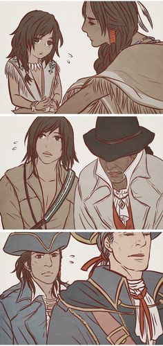 Lovely Connor Kenway! by *dokyakutu on deviantART. Assassin's Creed III. Connor with the three people who impacted him so so so much. Ziio, Achilles Davenport and Haytham Kenway.
