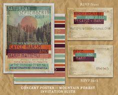 Concert Poster Wedding Invitation // Mountain Forest Sun