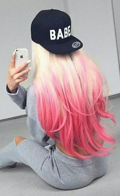 Blonde pink ombre dyed girly hair color...