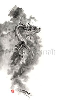 Dragons dragon japanese chinese fantasy landscape clouds mythology mythic Japan China symbol GICLEE print of watercolor and ink PAINTING