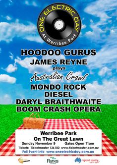HOODOO GURUS HEADLINE ONE ELECTRIC DAY FESTIVAL NOV 9. We'll be topping the line-up this summer in beautiful Werribee Park. It's an all-day event, finishing at dusk (7:30) so it's an ideal family event. We've played a few similar events (one last year in Wanneroo, W.A. springs to mind) and the friendly, carnival atmosphere makes gigs like these truly special. Tickets go on sale this coming Monday (7 July) through Ticketmaster. Just click on the poster image above to go straight to their One…