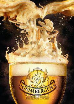 grimbergen composición con espuma Publicidad de la cerveza Belga Grimbergen hecho con espuma