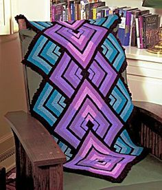 Free knitting pattern Mitres in Motion blanket throw afghan at Lion Brand site -- free with registration