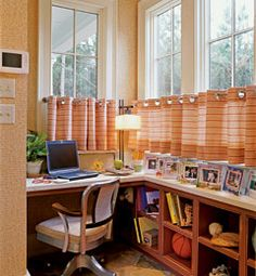 DIY Office: Mold a corner of just about any room to accommodate your home office. It doesn't need to be boring and bland. Dress things up with colorful patterned curtains and stylish bulletin boards for pinning up notes. Organizing can be chic too.