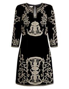 Monsoon Kalika Embroidered Velvet Tunic Dress 845864 £149
